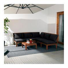 ÄPPLARÖ / HÅLLÖ 5-seat sectional, outdoor - brown stained/black - IKEA