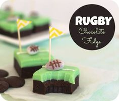 Recipe to make yummy rugby party chocolate fudge treats with cute corner post flags and a diy chocolate covered football. perfect for a rugby league birthday party. Party Treats, Party Cakes, Chocolate Fudge, Chocolate Covered, How To Make Cake, Food To Make, Rugby Cake, Easy Desserts, Dessert Recipes
