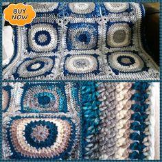 For sale from the Marie Whimsy Crochet Etsy Handmade Shabby Chic Retro Crochet Blanket: Seaside. For sale from the Marie Whimsy Crochet Etsy store! Coastal Rugs, Lap Blanket, Etsy Handmade, Cushion Covers, Etsy Store, Seaside, Shabby Chic, Beige, Peacock Blue