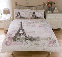 Vintage Paris Bedding Twin Full Queen Duvet Cover Set Eiffel Tower Pink & Grey