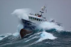 A Newfoundland Crab boat, owned by Ross Petten from Port de Grave, navigates some choppy water on the Grand Banks off Newfoundland. Could you navigate through this storm? No Wave, Choppy Water, Big Sea, Rough Seas, Fishing Vessel, Merchant Marine, Stormy Sea, Sea Photo, Newfoundland And Labrador