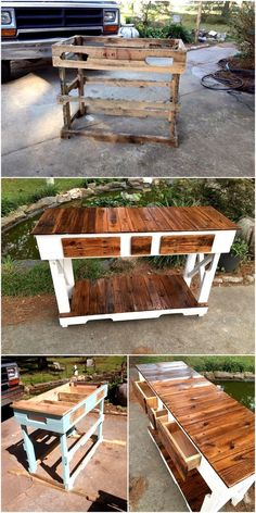 Pallet wood Side way table with draw