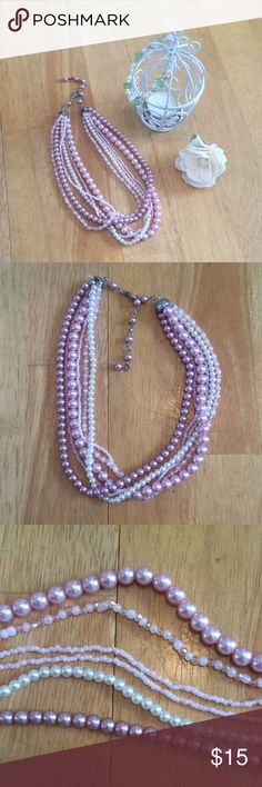 Layered Pink Pearl Necklace Layered Pink Pearl Necklace, Excellent Condition Jewelry Necklaces