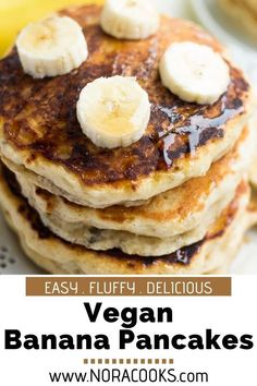 Wondrously Fluffy Vegan Banana Pancakes, incredibly easy to make with a mashed banana and a handful of pantry staples! Made in 1 bowl. Vegan Blogs, Vegan Breakfast Recipes, Delicious Vegan Recipes, Vegan Lunches, Vegan Snacks, Vegan Desserts, Veggie Recipes, My Recipes, Cooking Recipes
