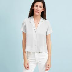 Silk gets casual. This notch collar shirt has split side hems and a boxy cut for an easy, relaxed fit. Finally, a silk shirt you can wear like a tee.