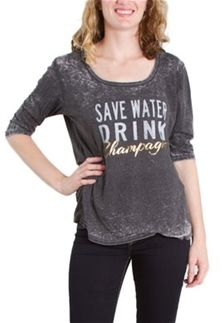 Retro+Brand+Save+Water+Drink+Champagne+Graphic+Tee+for+Women