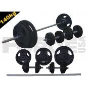 Standard, Rubber Coated 140kg package + DBs  This packages includes our 200cm barbell, and also some weights and a pair of dumbbells.  If you purchase the weights and the handles together we can offer the best prices in Australia!  This package includes:  1 x 200cm Barbell = 10kg (comes with collars) 2 x 16inch Dumbbells = 5kg 2 x 20kg plates = 40kg   For more info visit: http://www.gymandfitness.com.au/standard-rubber-coated-140kg-package-dbs.html