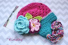 Crochet baby girl flower cluster hat Kinsley hot pink Teal by MudpiesandPigtails, $24.95