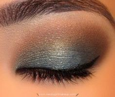 Steel blue & brown eye- love the touch of blue, but would probably go a bit more subtle for a wedding. Maybe a subtly sparkly slate blue liner blended into matte mauve and beige?