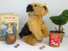 Patch the dog a Well loved old 1930s old dog who loves balancing dog biscuits on his nose!  www.onceuponatimebears.co.uk