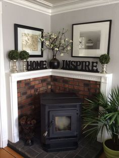 Corner pellet stove. Great idea to what to do when you want to place a stove into the corner of a room