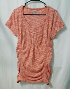 Athleta-Breathe-970784-Coral-Orange-Gray-Striped-Workout-Womens-Top-Shirt-Large