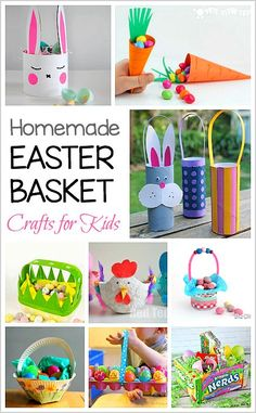 12 Homemade Easter Baskets: DIY Easter Basket Crafts for Kids- ideas using paper, milk cartons, candy, paper plates, and more!