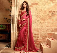Pink & Red Color Jacquard Crepe Designer Festival & Function Wear Sarees : Mirali Collection  YF-40664