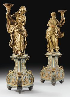 A PAIR OF FLEMISH, ANTWERP, CIRCA 1766, GILT WOOD ALLEGORICAL FIGURES, BY WALTER POMPE, SIGNED, Haut. (totale) 160 cm; height (overall) 63 in.