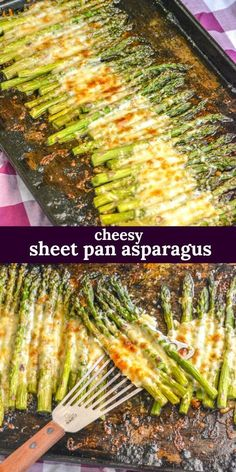 Garlic Roasted Cheesy Sheet Pan Asparagus - An easy side dish, this roasted gar. , , Garlic Roasted Cheesy Sheet Pan Asparagus - An easy side dish, this roasted garlic asparagus is cooked on a single sheet pan with a cheesy topp - Pan Asparagus, Roasted Garlic Asparagus, Roasted Vegetables, Veggies, Dinner Vegetables, Asparagus Dishes, Asparagus Casserole, Cooking Vegetables, Fresh Asparagus