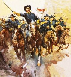 Charge of the US cavalry Postcards, Greetings Cards, Art Prints, Canvas, Framed Pictures, T-shirts & Wall Art by James Edwin McConnell