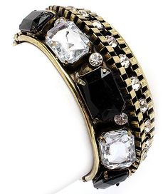 Gold Alloy Bangle with Crystals