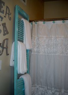 """This is what a pinner did and it's a good idea:  """"I found an old shutter and then painted it, roughed it up and took some slits out to make a towel rack in my bathroom! found the shutter for $3 ! what a steal!"""""""