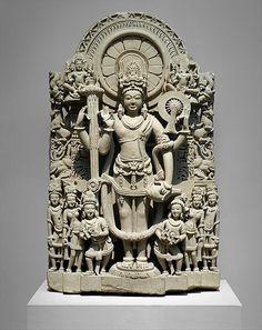 Lord Vishnu. Sandstone sculpture. Punjab, India. 10th-11th century.