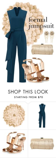 """Formal Jumpsuit"" by ladybug86 ❤ liked on Polyvore featuring Neiman Marcus, TIBI, Nina and Bebe"
