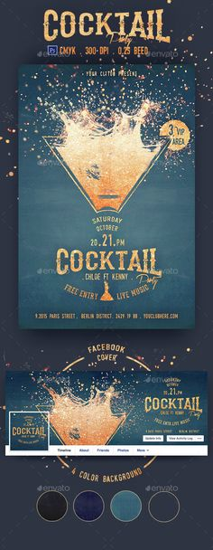 Cocktail Party Flyer Template  - PSD Template • Only available here ➝ http://graphicriver.net/item/cocktail-party-flyer-template/14887628?ref=pxcr