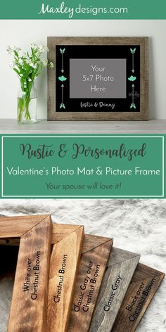Wedding Engagement Gift Personalized Lesbian Photo Mat with Brides Names and Date with Optional Rustic Barnwood Finish Picture Frame