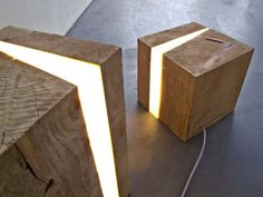 Bisected timber light cubes