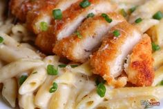 Garlic Parmesan Pasta with Crispy Chicken Tyson Panko Crusted Chicken Tenders, cooked Lb oz. Crispy Chicken Tenders, Crispy Chicken Recipes, Chicken Recipes For Two, Garlic Parmesan Pasta, Parmesan Crusted Chicken, Parmesan Salmon, Roasted Garlic, Penne Pasta, Super Simple