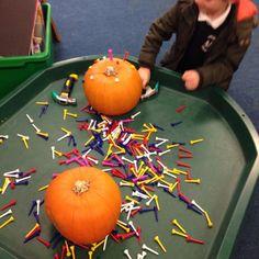 Golf tees pumpkins and hammers Autumn Eyfs Activities, Halloween Activities For Toddlers, Nursery Activities, Toddler Activities, Motor Activities, Outdoor Activities, Tuff Spot, Autumn Crafts, Fall Crafts For Kids