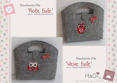 Felt Purse Red Wise Owl Handmade Embroidered by HerzigGenaehtes, €30.90