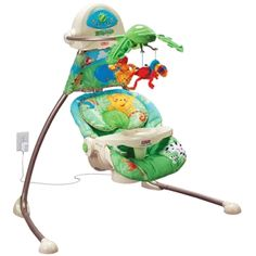 Fisher Price Rainforest Cradle Swing.  Plug in is the key.  If you have a new born this is a must have, I think I loved this swing even more than she did
