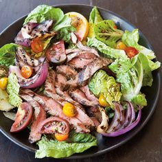 Grilled Flank Steak Salad with Tomatoes