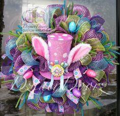 bunny deco mesh wreath | Cute Bunny Hat with Ears deco mesh Wreath by DzinerDoorz on Etsy, $135 ...