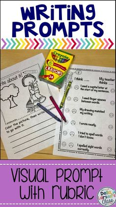 "Work on Writing with prompts for beginning writers with visual writing prompts for first grade and kindergarten beginning writers. These ""NO PREP"", ""Print and Go"" writing prompts are terrific for kids who just can't seem to get started writing. The visual cue activates the topic and gives them something to write about. They are engaging and the kids can quickly get to the task of writing"