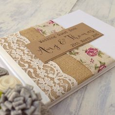 Rosa Burlap Lace Wedding Guest Book