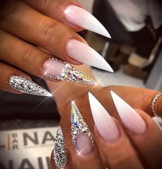 Online shopping from a great selection at Beauty & Personal Care Store. Sexy Nails, Dope Nails, Glam Nails, Fancy Nails, Bling Nails, Stiletto Nails, Pretty Nails, Glitter Nails, Nail Art Designs