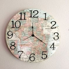 Did you know that I can custom make different state maps. This is a custom made clock from a vintage 1907 map of Wisconsin.