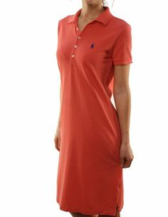 Ralph Lauren Sport Women's Polo Casual Dress Red w/Small Navy Blue Pony