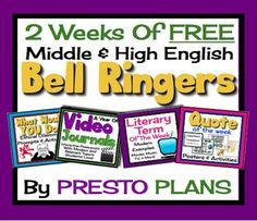 FREE Bell-Ringers For Middle/High School (2 Weeks): Lit Terms, Quotes, Journals...English Language Arts, Reading, Writing    6th, 7th, 8th, 9th, 10th Lesson Plans (Bundled), Activities, Begin each of your middle or high school English classes with these daily bell-ringer routines for two weeks! Each day has a different engaging activity...