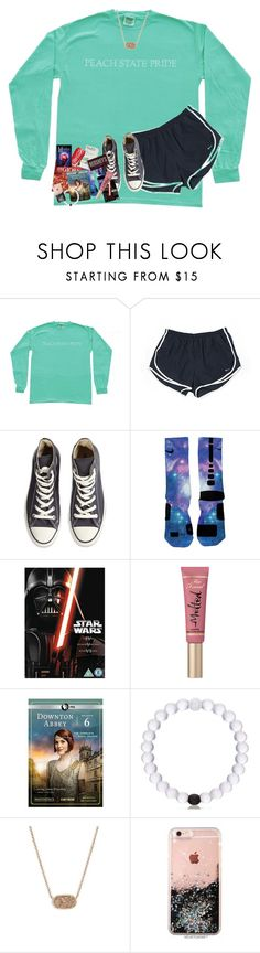 """""""my perfect day in a set"""" by lindsaygreys ❤ liked on Polyvore featuring NIKE, Converse, Disney, Too Faced Cosmetics, Hershey's and Kendra Scott"""