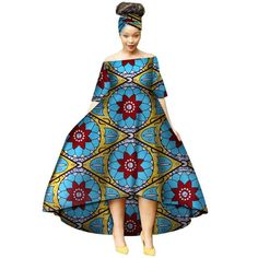 Fashion Summer African Dresses for Women Wax Print Snowflake Pattern Vestidos Long Dresses Bazin Riche Africa. African Dresses For Women, African Print Dresses, African Attire, African Wear, African Women, African Fashion Ankara, African Print Fashion, Fashion Prints, Fashion Design