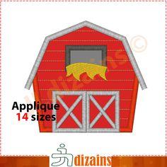 Barn Applique Design  Machine Embroidery Design