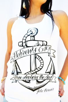 HOPE ANCHOR-White  by JCLU Forever Christian t-shirts
