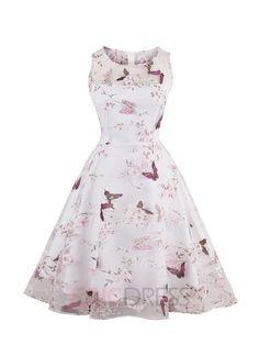 Ericdress Pastoral Butterfly Print Mesh Sleeveless A Line Dress