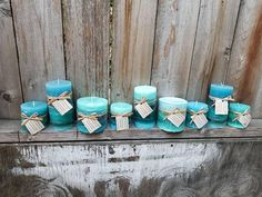 Yacht Salt (ocean) scented round pillar candles in Teal and Aqua Blue --  https://www.etsy.com/listing/591586771/yacht-salt-scented-pillar-candles-sale