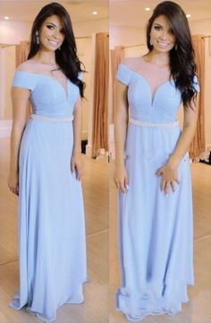Blue Beading Sheer Short Sleeves Chiffon Prom Dresses 2017