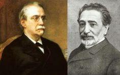 A la izquierda Antonio Cánovas del Castillo y a la derecha Práxedes Mateo Sagasta, representantes del sistema de turno político, establecido por Alfonso XII después del reinado de Isabel II.