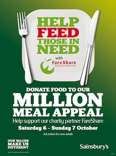 Sainsbury's Million Meal Appeal in partnership with Fare Share. The 2011 campaign was the UK's biggest single public food drive. #csr #fundraising #causemarketing