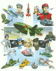From Supercar to Thunderbirds to Terrahawks; two Steve Kyte illustrations paying homage to Gerry Anderson TV shows, as published in Fanderson's FAB Old Cartoons, Classic Cartoons, Retro Toys, Vintage Toys, Thunderbirds Are Go, Sci Fi Tv Shows, Cult, Animation, Kids Tv